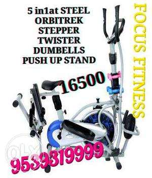 Gray White And Blue Elliptical Trainer