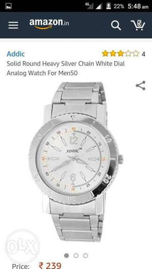 Round White Faced Addic Analog Watch With Silver Link