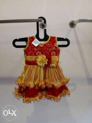 Toddler's Red And Yellow Floral Scoop-neck Sleeveless