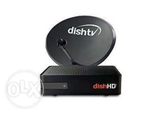 Black Dish TV Parabolic Dish And Dish HD Satellite Receiver