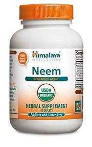 Himalaya Organic Neem 60 Caplets for Mild Acne & Healthy