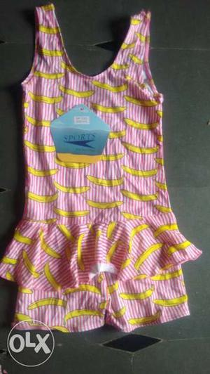 Kid's Yellow And Pink Sleeveless Dres