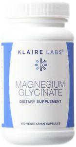 Klaire Labs Magnesium Glycinate Capsules, 100 mg, 100 ct