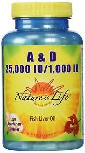 Nature's Life A and D,  IU/ IU Softgels, 250 Count