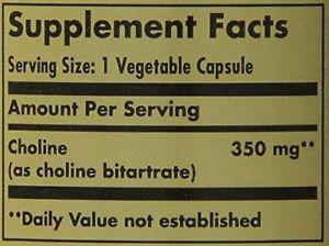 Solgar Choline Vegetable Capsules, 350 mg, 100 ct