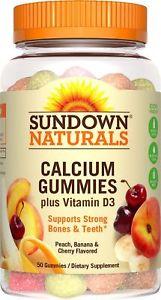 Sundown Naturals Calcium Plus Vitamin D3 Gummies, 50 Count
