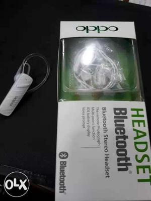 White Oppo Headset Bluetooth Earpiece With Box