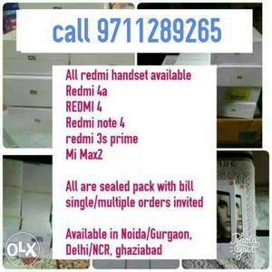 Redmi 4 brand new sealed pack having 3gb ram +32gb rom brand