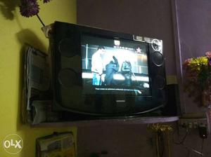 Black Widescreen Crt Samsung Tv In Working Condition