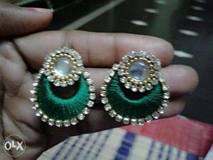 Green Silk Thread Jhumka Earrings