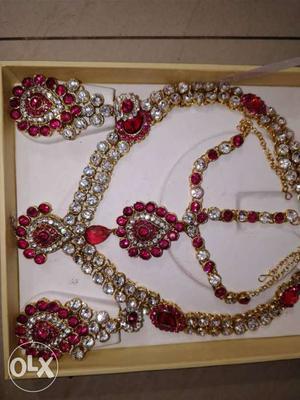 Pink colour bridal jewellery set
