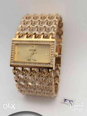 Rectangular Gold Guess Analog Watch With Gold