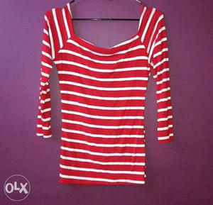 Women's Red And White Striped Off Shoulder top