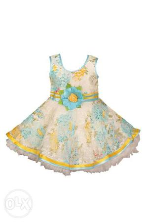 Girl's Blue, White And Pink Floral Sleeveless frocks