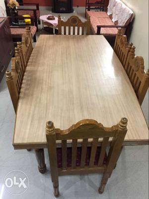 Burma Teak wood dining table with 6 cushion