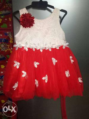 Toddler's Red And White Floral Sleeveless Dress