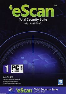 eScan Total Security Suite with Anti-Theft - 1 PC, 1 User, 1