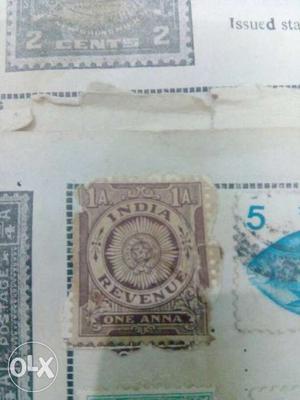 1 Anna India Revenue Postage Stamp