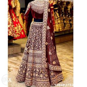 Heavy Embroided Maroon Velvet Bridal Lehenga at Just