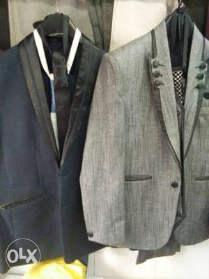 Two Gray And Black Shawl Lapel Suit Jackets