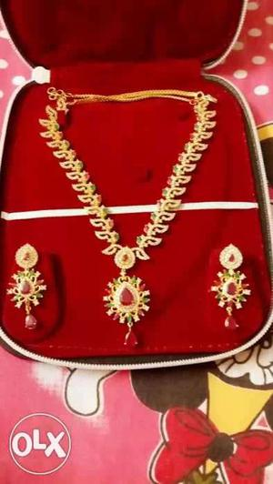 Women's Red And Gold Jewelry Set In Box