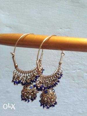 Blue hoop earring with antique gold polish (new)