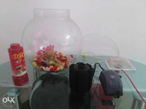 Fish tank with colour pebbles, oxygen motor, tank