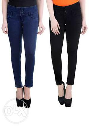 Buy New Women's Black And Blue Jeans and Get 1jeans free