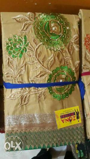 Gold-colored And Green Floral Body Scarf