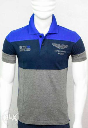 Men's Grey And Blue Aston Martin Polo Shirt