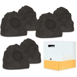 Theater Solutions 6R4L Outdoor Lava Rock 6 Speaker Set for