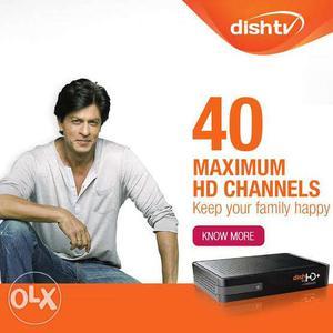 Black Dish TV + Set Top Box new connection hd