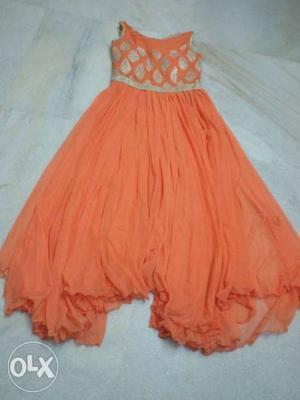 Orange Chiffon Sleeveless Maxi Dress