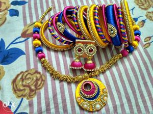 Thread necklace bangles and ear rings set