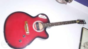 Black And Red Fender Flame Top Electric Acoustic Guitar