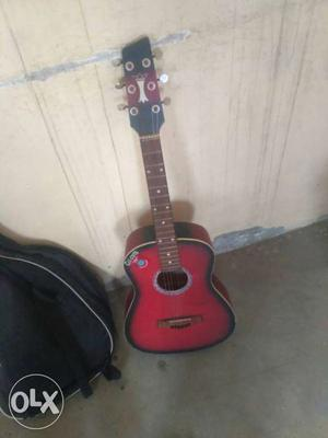 Small Jumbo Red-burst Acoustic Guitar With Gig Bag