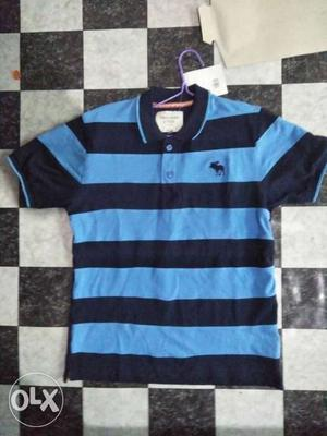 Blue And Black Abercrombie & Fitch Polo Shirt