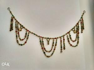 Gold, Green And Red Gemstone Beaded Necklace