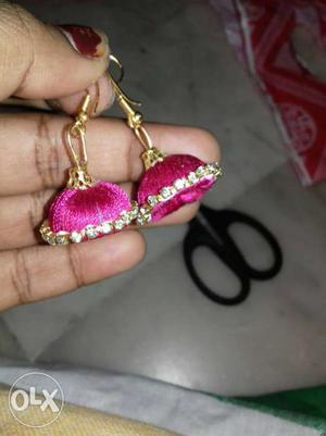 Pair Of Pink Silk Thread Jhumka Earrings