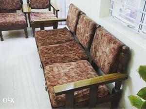 5 Seater (3+1+1) Sofa Set with antique and strong wood.