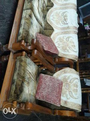 Brown Wood-framed White And Brown Padded Fabric Sofa Chair