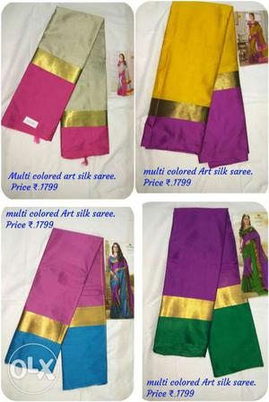 Four Multi-colored Art Silk Saree Photo Collage