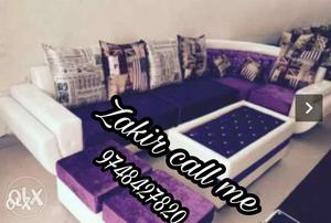 Purple and white sectional couch sofa
