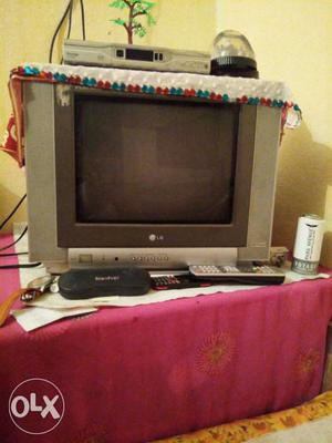 Grey LG CRT Television With Remote