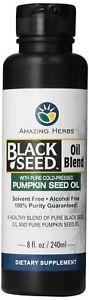 Amazing Herbs Black Seed and Pumpkin Seed Oil Blend, 8 Fluid