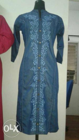 Denim jeans kurti with acid wash. if you want to