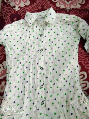 Latest white and small dotted blue and green colour shirt
