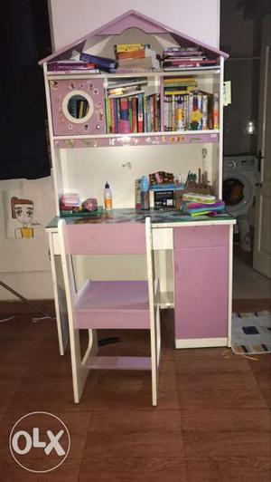 Pink And White Wooden Desk With Hutch And Chair
