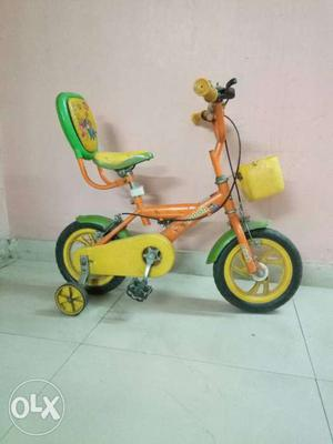 Toddler's Orange And Yellow Bicycle With Training Wheels