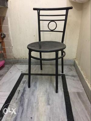 Black steel Chair for office use & one table (wooden+ iron)